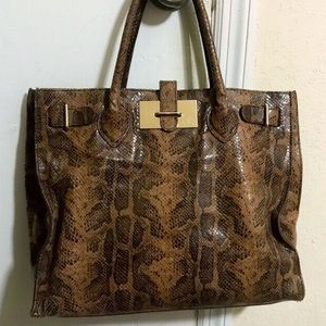 Furla crocodile leather brown tote bag